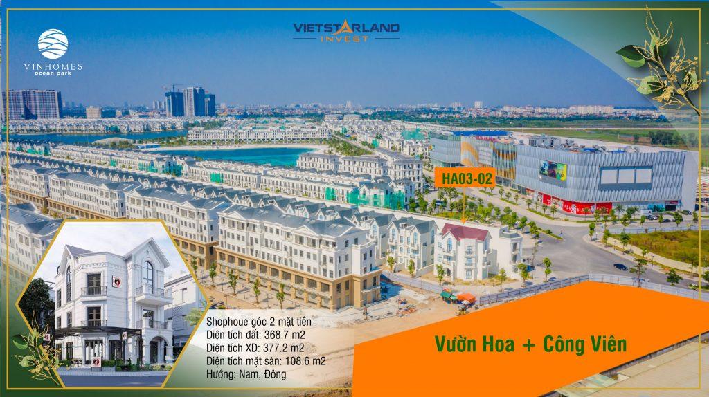 Shophouse Vinhomes Ocean Park Đơn lập Hải âu Góc HA03 - 02