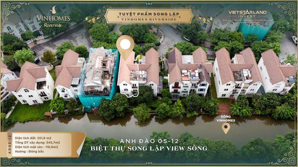 Bán Biệt thự Song lập Anh Đào 05-12 Vinhomes Riverside
